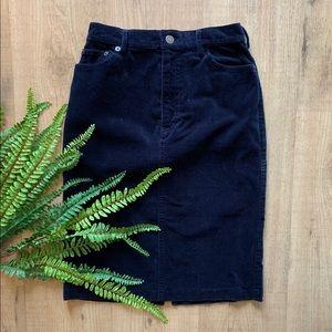 VINTAGE high waist blue corduroy pencil skirt Sz 6